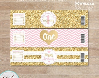 50% OFF SALE Pink and Gold Water Bottle Label, Gold Glitter 1st Birthday, ONE, first, bottle wrappers, party supplies, Birthday Party, Insta