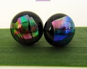 Dark Dichroic Fused Glass Stud Earrings, Small Post Earrings with Sterling Silver Posts in Rainbow Colors on Black