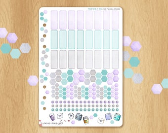 Functionnal Stickers For Inkwell Press A5 Planner Inserts (Turquoise and Violet for January, May, September): Hexagons and Eventboxs