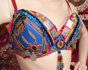 "Blue Tribal Costume, ATS, Tribal Fusion Costume, Set of Bra US Size 38C and Belt 37 "", OOAK, Handmade by neemaheTribal"