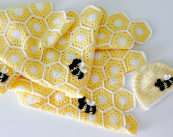 Crochet Newborn Bee Hive Baby Blanket and Baby Hat. Great Baby Shower Gift! Made to Order