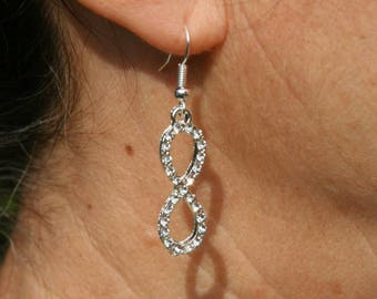 "Earrings with ""Infinity"" with Rhinestones"