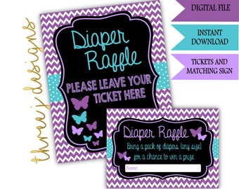 Butterfly Baby Shower Diaper Raffle Tickets and Sign - INSTANT DOWNLOAD - Purple and Teal - Digital File - J001