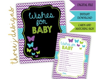 Butterfly Baby Shower Wishes for Baby Cards and Sign - INSTANT DOWNLOAD - Purple, Teal and Green - Digital File - J006