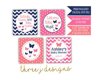 Butterfly Baby Shower Personalized Cupcake Toppers - Navy Blue, Pink and Coral - Digital File - J003