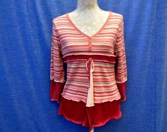 Ladies orange stripe sweater upcycled recycled original eco