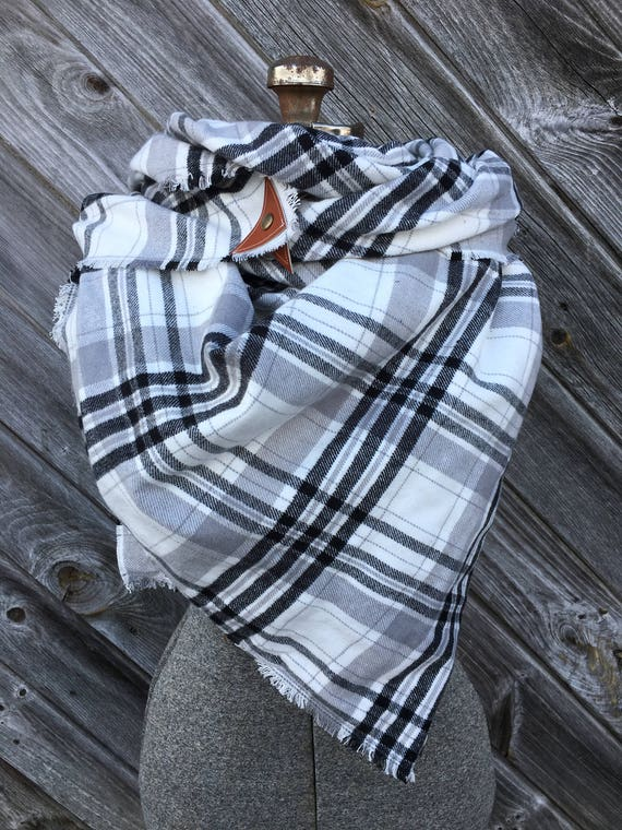 Black and white large Plaid Blanket Scarf with leather detail