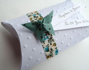 Box dragees baptism + Butterfly origami Japanese paper, Ribbon liberty welcome birthday gift, baptism, wedding