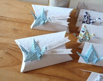 Box dragees cushion + blue paper - thank you gift origami crane invited birthday, christening, wedding
