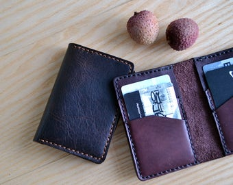 Credit card case in Horween leather / Wallet, business card, purse in Dark brown Horween leather