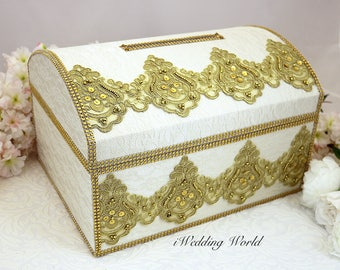 Custom Wedding Box, Card Box for Wedding, wedding money box, Gold and Ivory Wedding Card Box, Memory Box, Gold and White, Envelope Holder