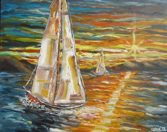 """Oil painting, """"SailBoats"""" , signed, 20"""" x 20"""" Canvas , Costa Rica, Boats, Impressionism, Seascape, Peru, offer special elinca24"""