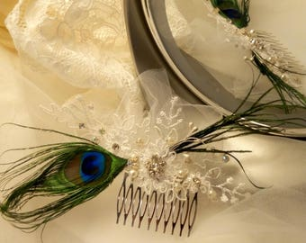 Beautiful bridal comb, Peacock feather, silver metal support