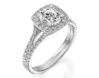 F/SI1 Round Cut Diamond Engagement Ring 1.10 CT 14K White Gold Solitaire