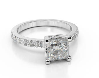 F/SI1 Princess Cut Diamond Engagement Ring 2.40 CT 14K White Gold Brilliant