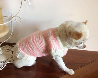 Pink wool sweater and beige .for chihuahua about 1 kg