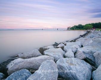 Chesapeake Bay Bridge Sunset - Sandy Point State Park - Annapolis - Maryland - USA - Landscape - Fine Art Print