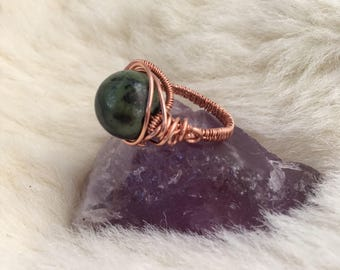 Jade wire wrapped ring - copper ring - wire wrapped jewelry handmade - wire jewelry