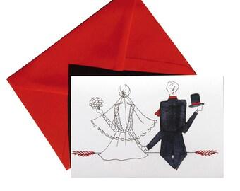 Folded card, wedding, red envelope.