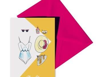 Card folded summer fuchsia envelope.