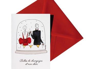 Valentine's day folded card, red envelope.