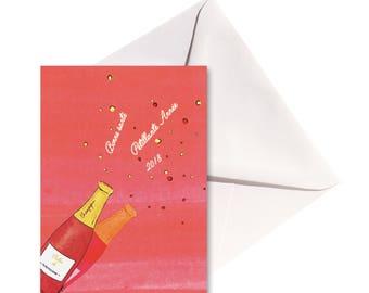 Carte pliée Pétillante Année, enveloppe blanche.