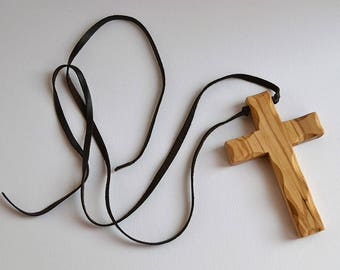 Hand carved cross necklace italian Olive wood