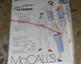 McCall's Palmer Petsch Fit Experts Pattern #P415 Size 12 Uncut & Unused Skirt/Pants/Jeans