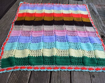 Vintage Handmade Crochet Afghan/Throw/Baby Blanket Spring Colors Lightweight