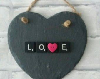 Slate hanging 'LOVE' heart