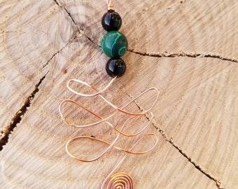 Malachite and Obsidian Copper Unalome Necklace for Enhanced Protection and Expelling of Fear and Ego
