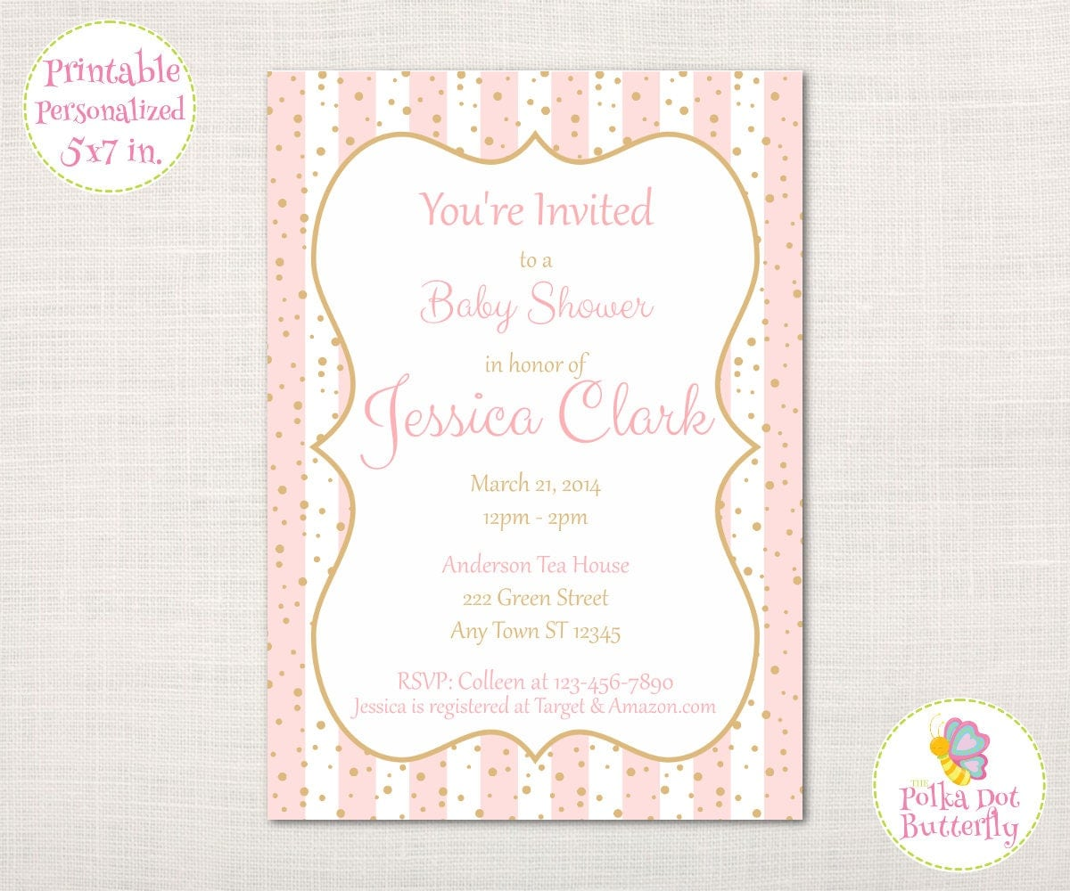 Printable Pink and Gold Baby Shower Invitation, Its a Girl, Baby ...