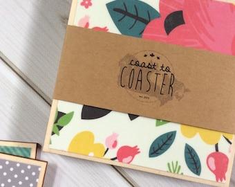 Set of Pink Coasters, Set of Floral Coasters, Set of Grey Coasters, Pink and Grey Decor, Pink Flowers, Grey Polka Dots, Wooden Coasters