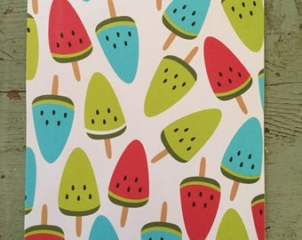 Watermelon Wrapping Paper.  Watermelon Folded Wrapping Paper. Popsicle Wrapping Paper. Kraft Gift Wrap (68X50cm)