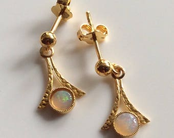 Solid Australian Opal Stud Earrings 18CT Yellow Gold Over Solid 925 Sterling Silver