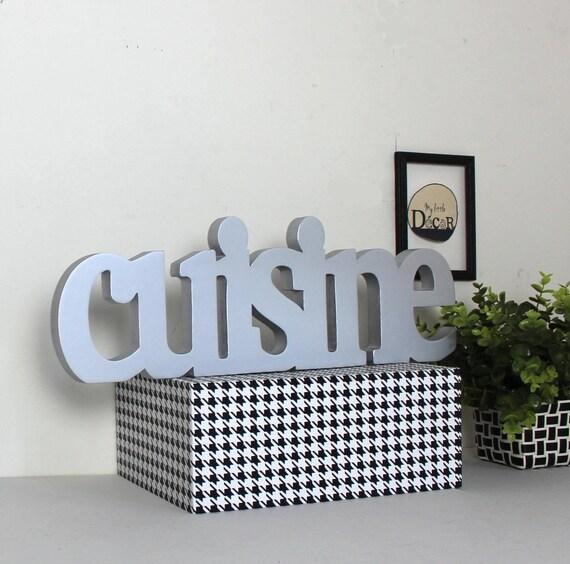 mot en bois cuisine argent laqu mot d coratif lettres. Black Bedroom Furniture Sets. Home Design Ideas