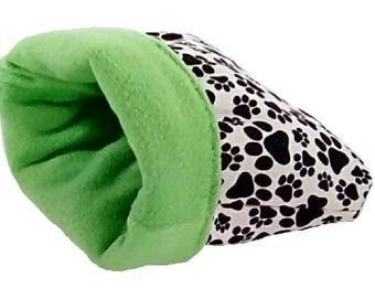 "Medium 20"" x 24"" green pawprint dog bed or cat bed, plush, reversible, 3 layers"