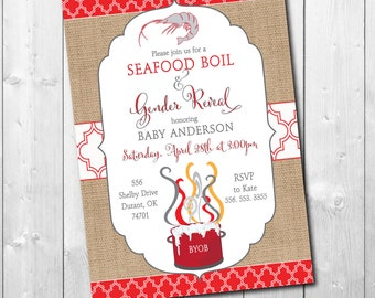 Gender Reveal Invitation Seafood Boil printable/Digital File/crawfish, low country, shrimp boil, couples shower/Wording can be changed