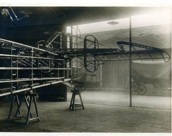 Antique Biplane Factory Photo c1910