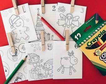 24 Day Advent Calendar - Christmas Countdown - Paper Envelope (Colour Me Christmas Design)