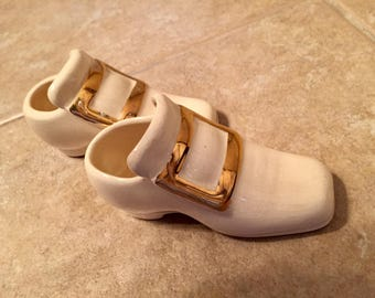 Miniature  Porcelain White Shoes with Gold Buckle