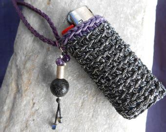 Lighter Case Necklace black lurex & purple  with Lava, Amethyst, Hematite, Silver - crochet lighter holder - gift idea for smokers :)