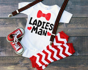 Ladies Man Valentines Funny  Bodysuit or T-Shirt for Baby Toddler Kid Newborn Babies Shower Coming Home Gift Idea Creeper Present Bowtie