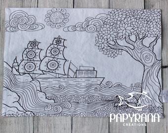 Color me nautical place mat,  draw on place mat, portable place mat, drawing, child mandala, boat mandala