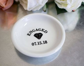 Personalized Engagement Ring Holder - Ring Holder - Engagement Gift - Engagement Ring Dish - Ring Holder Dish - Engagement Date Ring Holder