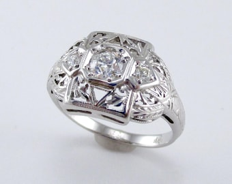 Art Deco Antique European Cut Diamond Ring
