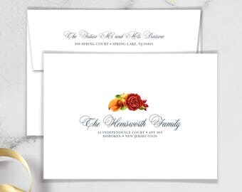 Fall Envelopes with Guest & Return Address Printing / Red Rose Flower, Orange Calla Lilly Floral Gold Geometric ▷ INVITE {or} RSVP Envelopes