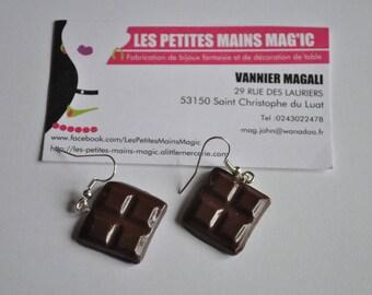 Earrings gourmet chocolate square