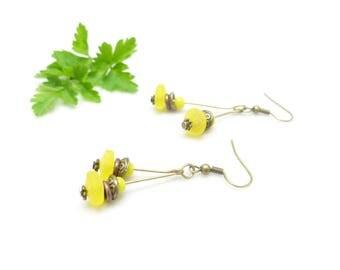 Sleek earrings ~ Sun beads ~
