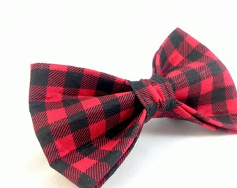 Red Buffalo Plaid dog bow tie - Plaid bow tie - Red and Black bow tie - Dog gift - Pet gift - Dog Mom gift - plaid Dog accessories